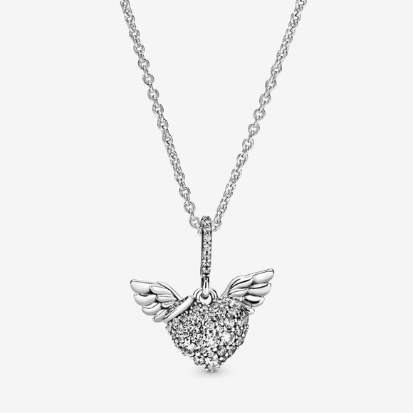 Pandora Jewelry - Pavé Heart and Angel Wings Necklace